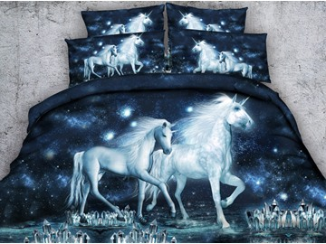 3D Unicorn and Crystal Printed Cotton 5-Piece Galaxy Comforter Sets
