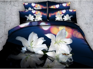 3D White Lilies Printed Cotton 5-Piece Comforter Sets