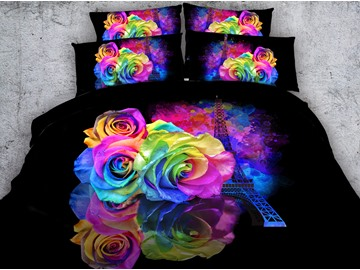 3D Eiffel Tower and Roses Printed Cotton 5-Piece Comforter Sets