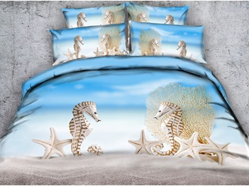 3D Sea Horse and Starfish Printed Cotton 5-Piece Comforter Sets