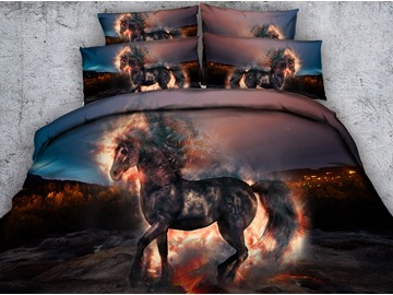 3D Fiery Unicorn Printed Cotton 5-Piece Comforter Sets