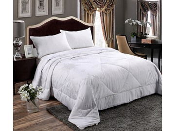 3D White Lotus and Dragonfly Printed Cotton 5-Piece Comforter Sets