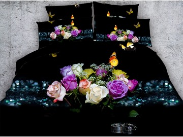 3D Floral and Butterfly Printed Cotton 5-Piece Black Comforter Sets