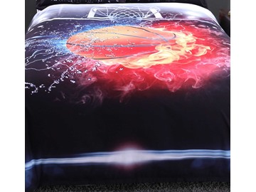 Vivilinen 3D Basketball Ball in Fire and Water Printed 5-Piece Comforter Sets