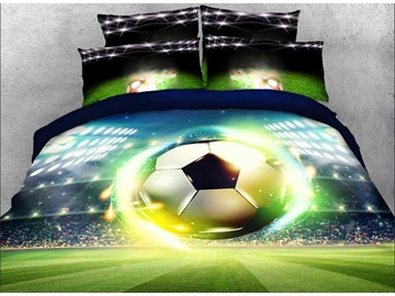 Vivilinen 3D Soccer Ball with Stadium Printed 5-Piece Comforter Sets