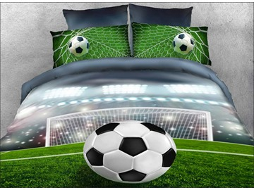 Vivilinen 3D Soccer Ball in front of Goal Printed 5-Piece Comforter Sets