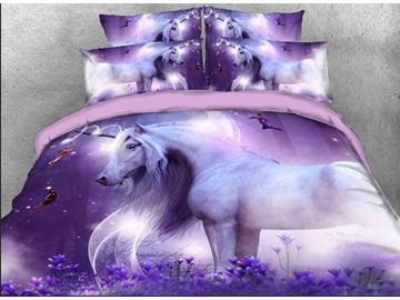 Vivilinen 3D Unicorn and Fairies Printed 5-Piece Purple Comforter Sets Skin-friendly All-Season Ultra-soft Microfiber