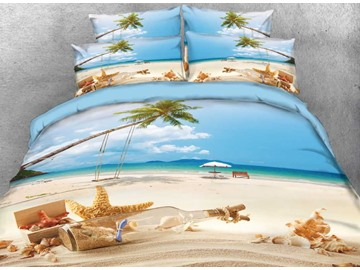Vivilinen 3D Starfish and Drift Bottle Printed Beach Style 5-Piece Comforter Sets
