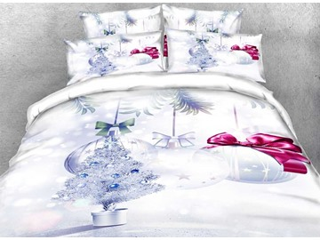 Vivilinen 3D Silvery Christmas Tree and Ornaments 5-Piece White Comforter Sets