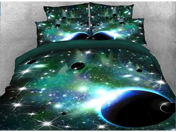 Vivilinen 3D Galaxy and Celestial Body Printed 5-Piece Green Comforter Sets