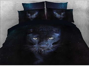 Black 3D Wild Panther Printed 5-Piece Comforter Set / Bedding Set Polyester