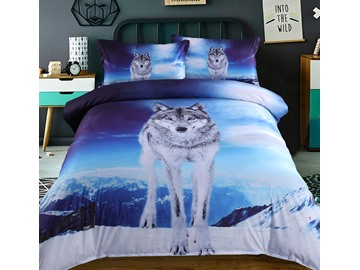 Vivilinen 3D Wolf under the Sky Printed 5-Piece Comforter Sets