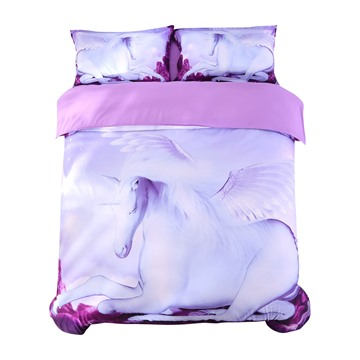 Vivilinen 3D White Unicorn with Wings Printed 5-Piece Comforter Sets