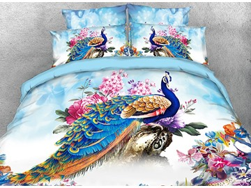 Vivilinen 3D Peacock and Peony Watercolor Printed 5-Piece Comforter Sets Polyester Ultra-soft Microfiber No-fading Twin Full Queen King