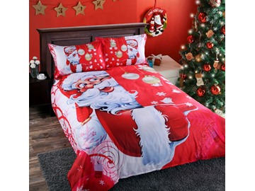 Vivilinen 3D Santa and Christmas Decorations Printed 5-Piece Comforter Sets