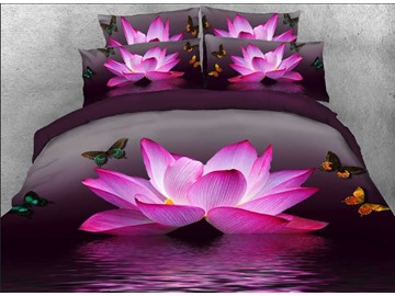 3D Pink Lotus and Butterfly Printed 5-Piece Comforter Set / Bedding Set Polyester