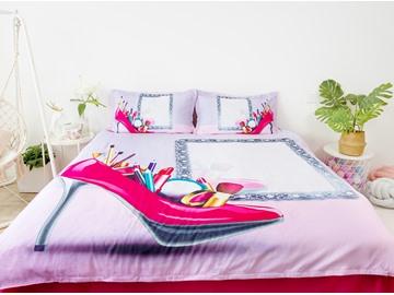 3D Mirror And Makeup Tools In Pink High-heels 5-Piece Comforter Set / Bedding Set
