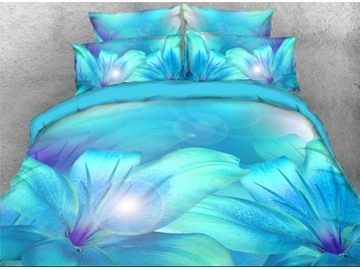 5-Piece Comforter Set 3D Blue Floral Bedding Turquoise Lily Flower Printed High-Quality Microfiber Polyester Lightweight Warm Zipper Bedding Sets with White Down Quilt
