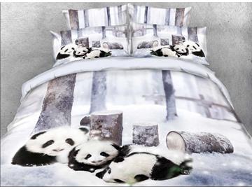 Vivilinen 3D Panda Cub in Snow Printed 5-Piece Comforter Sets