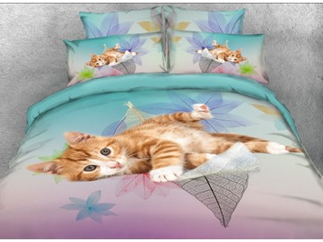 Vivilinen 3D Kitten on the Leaves Printed 5-Piece Comforter Sets