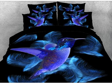 Vivilinen 3D Blue Hummingbird and Feathers Printed 5-Piece Comforter Sets