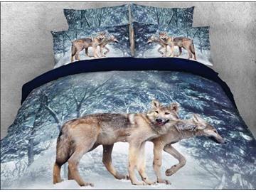 Vivilinen 3D Wolf in Winter Forest Printed 5-Piece Comforter Sets