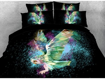 Vivilinen 3D Flying Owl Printed 5-Piece Comforter Sets