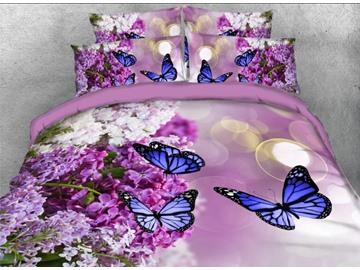 Blue Butterflies On Purple Lilacs Printed 5-Piece Comforter Sets