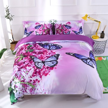 3D Blue Butterflies On Purple Lilacs Printed 5-Piece Comforter Set / Bedding Set
