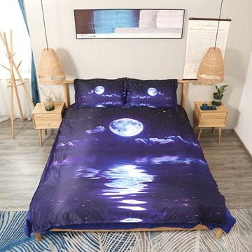3D Night View and the Moon Navy Blue Digital Printed 5-Piece Comforter Sets with White Down Insert
