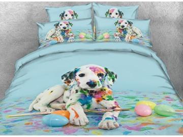 3D Colorful Dalmatian Dog Printed 5-Piece Comforter Set / Bedding Set