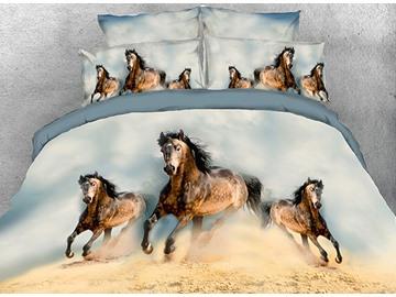 Vivilinen 3D Wild Horses Running Printed 5-Piece Comforter Sets
