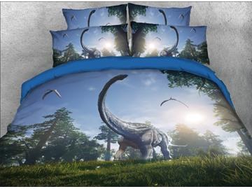 Vivilinen 3D Brachiosaurus Dinosaurs in Virgin Forest Natural 5-Piece Comforter Sets