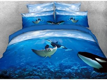 Vivilinen 3D Manta Ray and Orcas in Ocean 5-Piece Comforter Sets