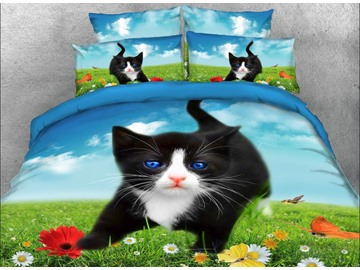 Vivilinen 3D Black Kitten and Butterflies Printed 5-Piece Comforter Sets