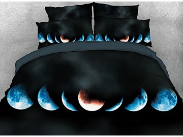 Vivilinen 3D Moon Phases Printed Simple Style 5-Piece Comforter Sets