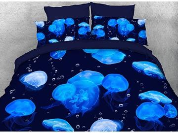 Vivilinen 3D Floating Blue Jellyfish Printed 5-Piece Comforter Sets