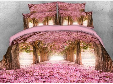 Vivilinen 3D Pink Blossoming Tree Alley Printed 5-Piece Comforter Sets