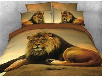 Vivilinen 3D Lion Relaxing on Rock African Safari 5-Piece Comforter Sets