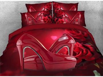 Vivilinen 3D Sexy Red High Heels and Roses Romantic 5-Piece Comforter Sets