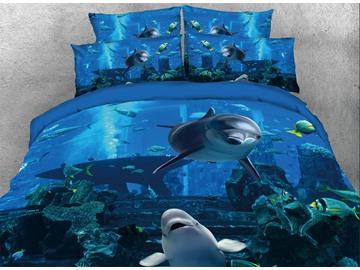 Vivilinen 3D Dolphins Swimming in Blue Ocean Printed 5-Piece Comforter Sets