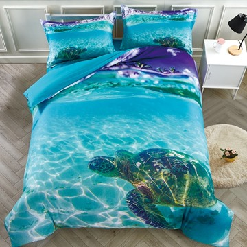 5 PCS Comforter Sets 3D Sea Turtle in the Blue Ocean High-Quality Microfiber Polyester Lightweight Warm Zipper Bedding Sets with White Down Quilt