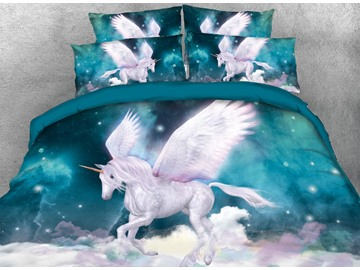 Vivilinen 3D Unicorn and Galaxy Printed 5-Piece Comforter Sets