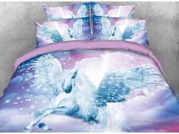 Vivilinen White Unicorn with Wings Reactive Printed 3D 5-Piece Comforter Sets