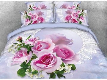 Vivilinen 3D Blush Pink Rose Printed 5-Piece Comforter Sets