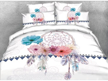 Vivilinen 3D Dreamcatcher with Daisy Printed 5-Piece Comforter Sets