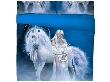 Vivilinen 3D Unicorn and Sexy Girl Printed 5-Piece Comforter Sets