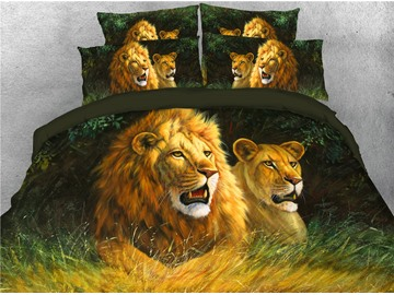 Leopard and Lion Watching Somewhere Digital Printed 3D 5-Piece Comforter Sets