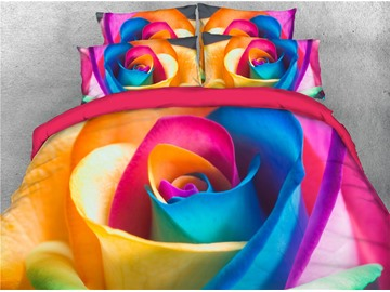 Cheerful Rainbow Rose Reactive Printing 3D 5-Piece Comforter Sets Twin Full Queen King