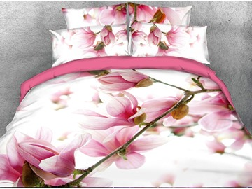 Vibrant Pink Flower Digital Printing 3D 5-Piece Comforter Sets